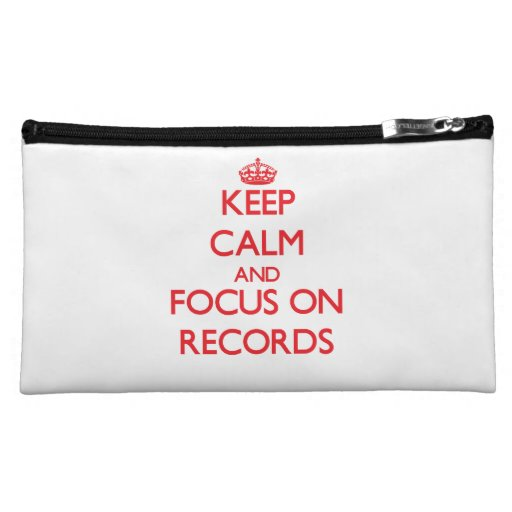 Keep Calm and focus on Records Cosmetics Bags