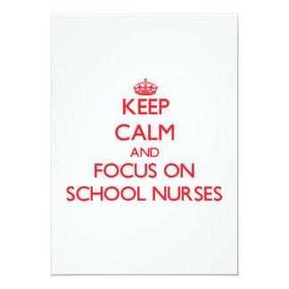 "Keep Calm and focus on School Nurses 5"" X 7"" Invitation Card"