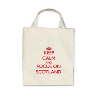 Keep Calm and focus on Scotland Canvas Bags