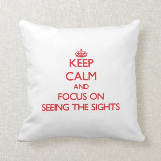 Keep Calm and focus on Seeing The Sights Pillow