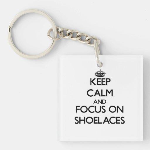 Keep Calm and focus on Shoelaces Acrylic Keychain