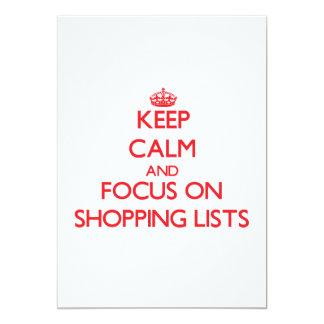 Keep calm and focus on Shopping Lists 13 Cm X 18 Cm Invitation Card