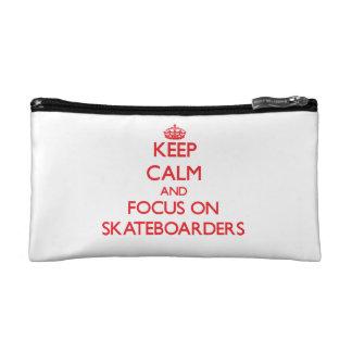 Keep Calm and focus on Skateboarders Makeup Bag
