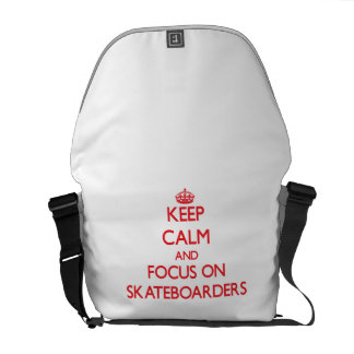 Keep Calm and focus on Skateboarders Courier Bags