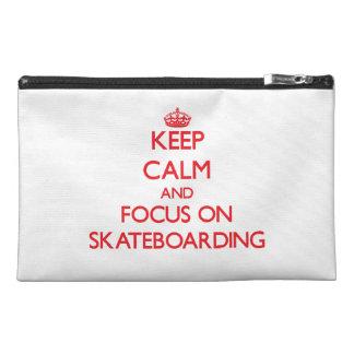 Keep Calm and focus on Skateboarding Travel Accessory Bag