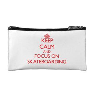 Keep Calm and focus on Skateboarding Cosmetic Bag