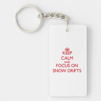 Keep Calm and focus on Snow Drifts Double-Sided Rectangular Acrylic Key Ring