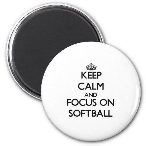 Keep Calm and focus on Softball Magnets
