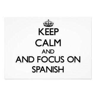Keep calm and focus on Spanish Custom Invitation