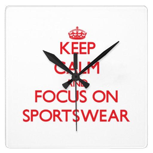 Keep Calm and focus on Sportswear Wall Clocks