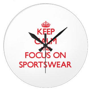 Keep Calm and focus on Sportswear Wallclock