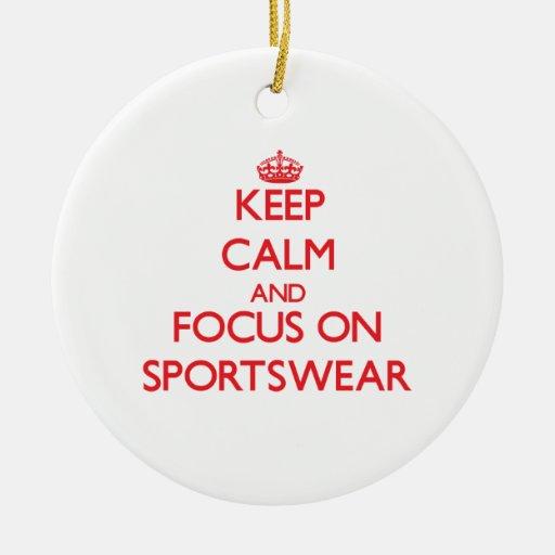 Keep Calm and focus on Sportswear Christmas Ornaments