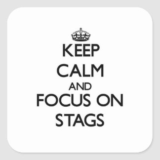 Keep Calm and focus on Stags Square Sticker