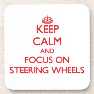 Keep Calm and focus on Steering Wheels Drink Coasters