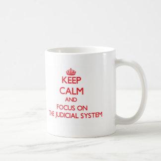Keep Calm and focus on The Judicial System Basic White Mug