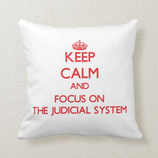 Keep Calm and focus on The Judicial System Throw Pillows