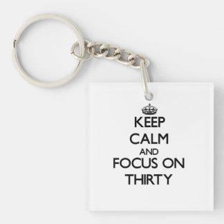 Keep Calm and focus on Thirty Acrylic Keychain