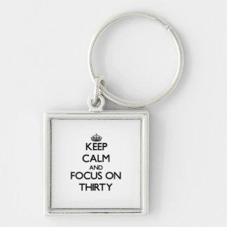 Keep Calm and focus on Thirty Keychain
