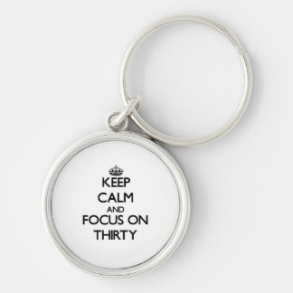 Keep Calm and focus on Thirty Key Chain