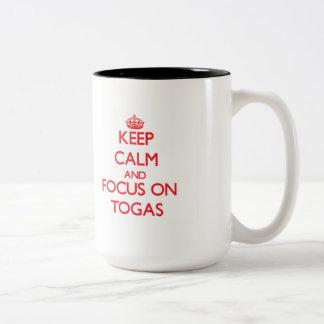 Keep Calm and focus on Togas Two-Tone Mug