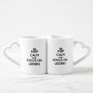 Keep Calm and focus on Udders Coffee Mug Set