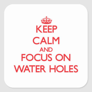 Keep Calm and focus on Water Holes Square Sticker