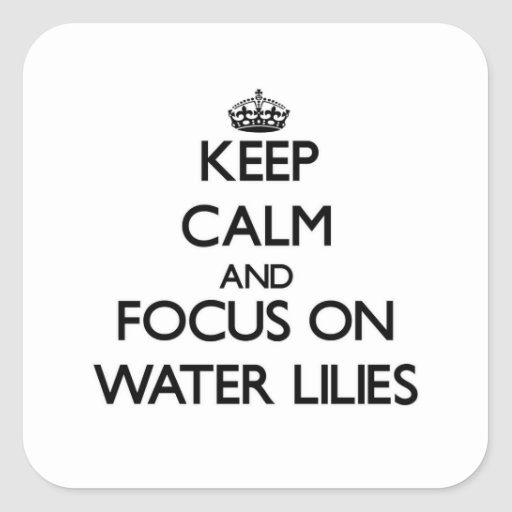 Keep Calm and focus on Water Lilies Square Stickers