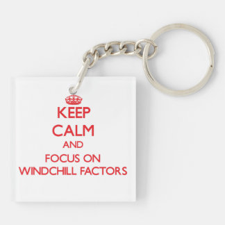 Keep Calm and focus on Windchill Factors Double-Sided Square Acrylic Key Ring