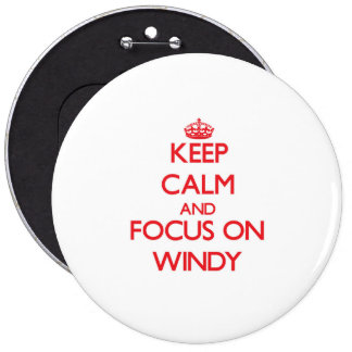Keep Calm and focus on Windy Pinback Button