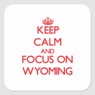 Keep Calm and focus on Wyoming Square Stickers