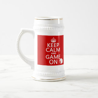 Keep Calm and Game On - dice - all colors Beer Stein