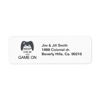 Keep Calm And Game ON Return Address Label