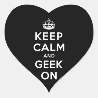 Keep Calm and Geek On Heart Sticker