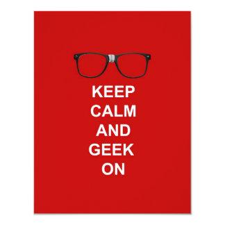 "Keep Calm And Geek On 4.25"" X 5.5"" Invitation Card"