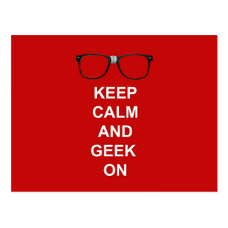 Keep Calm And Geek On Post Cards