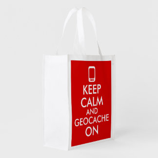 Keep Calm and Geocache On GPS Geocaching Red Reusable Grocery Bag
