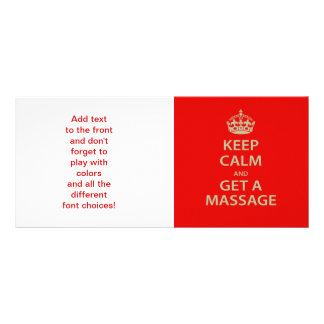 Keep Calm and Get a Massage Full Color Rack Card