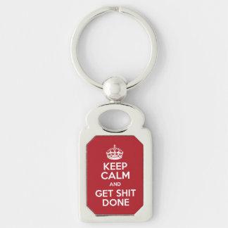 Keep Calm and Get Stuff Done Metal Keychain