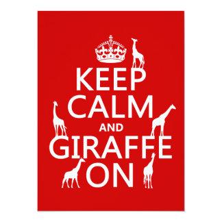 Keep Calm and Giraffe On (customize colors) Card