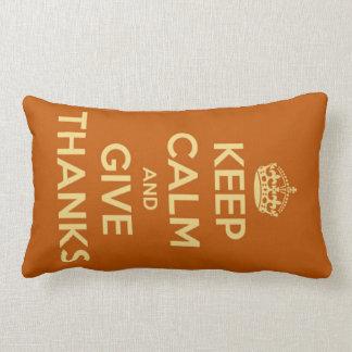 Keep Calm and Give Thanks Harvest Orange Lumbar Cushion