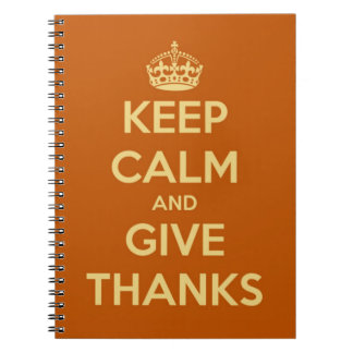 Keep Calm and Give Thanks Harvest Orange Note Book