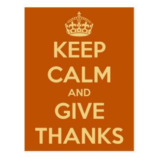 Keep Calm and Give Thanks Orange Postcard