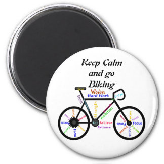Keep Calm and go Biking, with Motivational Words Magnet