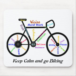 Keep Calm and go Biking, with Motivational Words Mouse Pad