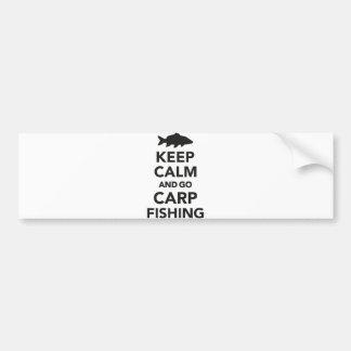 """Keep calm and go carp fishing"" bumper sticker"