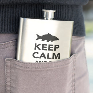 """Keep calm and go carp fishing"" hip flask"