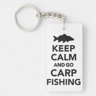 """""""Keep calm and go carp fishing"""" keyring Single-Sided Rectangular Acrylic Key Ring"""
