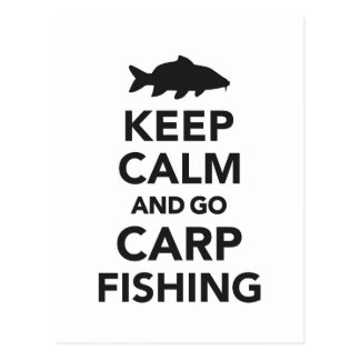 """Keep calm and go carp fishing"" postcard"