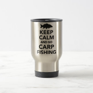 """Keep calm and go carp fishing"" travel mug"