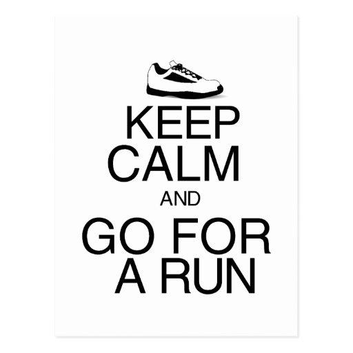 Keep Calm and Go For A Run Postcard